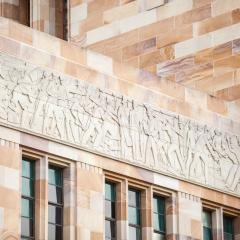 Sandstone carvings at The University of Queensland